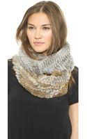 Jocelyn Diagonal Colorblock Fur Infinity Scarf - Natural Greyheather - Lyst