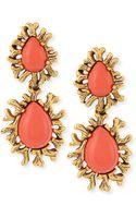 Oscar de la Renta Coral Branch Cabochon Earrings - Lyst