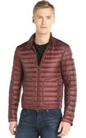 Moncler Bordeaux Quilted Nylon Down Filled Zip Front Auguste Jacket - Lyst
