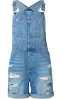 Current/Elliott The Shortall Dungarees in Tattered Destroy - Lyst