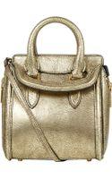 Alexander McQueen Gold Metallic Heroine Leather Bag - Lyst