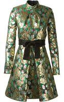 Saint Laurent  Lamé Floral Printed Dress - Lyst