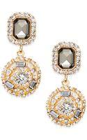 Cara Double Medallion Drop Earrings - Lyst