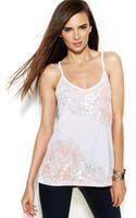 Inc International Concepts Sequined Floralprint Sleeveless Top - Lyst