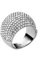 Michael Kors Silvertone  Crystal Pavã Dome Ring - Lyst