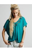 Free People Cutwork Double V Tee - Lyst