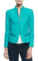 T Tahari Daughtry Zipfront Jacket Forward Teal - Lyst