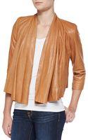 Alice + Olivia Openfront Draped Leather Jacket - Lyst