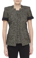 Zac Posen Tweed Shortsleeve Jacket - Lyst