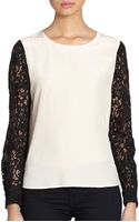 Diane Von Furstenberg Louisa Lace Sleeved Silk Blouse - Lyst
