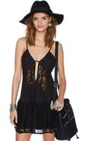 Nasty Gal Lace Off Dress Black - Lyst