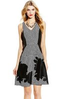 Vince Camuto Fit and Flare Dress With Contrast Sides - Lyst