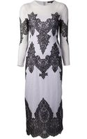 Wes Gordon Lace Insert Dress - Lyst