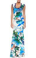 Roberto Cavalli Knit-trim Tropical Floral-print U-neck Gown - Lyst
