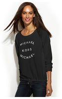 Michael Kors Michael Petite Metallic Logo Drawstring Sweatshirt - Lyst