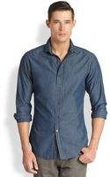 Ralph Lauren Black Label Chambray Sportshirt - Lyst