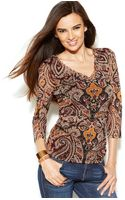 Inc International Concepts Petite Printed Ruchedside Top - Lyst