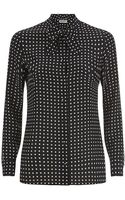 Saint Laurent Polka Dot Lavalliãre Blouse - Lyst