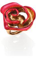 Oscar de la Renta Painted Rose Cocktail Ring - Lyst