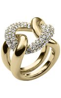 Michael Kors Goldtone Crystal Pave Curb Link Ring - Lyst