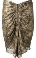 Isabel Marant Bronze Lamé Printed Skirt - Lyst