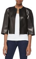 Michael Kors Calfskin Leather Cropped Jacket - Lyst