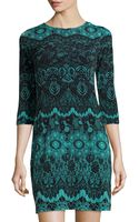 Donna Morgan Lace-print Fitted Dress - Lyst