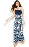 Inc International Concepts Embellished Printed Halter Maxi Dress - Lyst