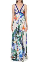 Roberto Cavalli Embellished Tropical-print Silk Gown - Lyst