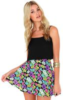 Missguided Malwina Floral Print Skater Skirt - Lyst