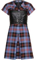 McQ by Alexander McQueen Plaid Wool and Leather Dress - Lyst