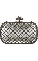 Bottega Veneta Grid Metallic Clutch Plat - Lyst