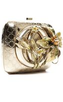 Gucci Pre-owned Gold Floral Motif Minaudiere Clutch - Lyst