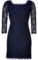 Diane Von Furstenberg Zarita Lace Dress in Navy - Lyst