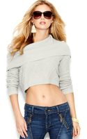 Guess Long-sleeve Cowl-neck Cropped Sweater - Lyst