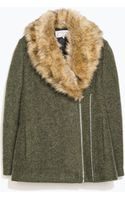 Zara Coat with Detachable Fur Collar - Lyst