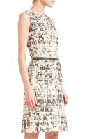 Akris Abstractprint Belted Shift Dress - Lyst
