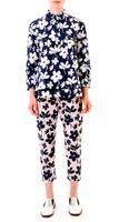 Marni Floral Elasticwaist Ankle Pants Pinknavy - Lyst