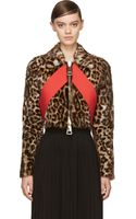 Givenchy Leopard Print Red Sash Cropped Biker Jacket - Lyst