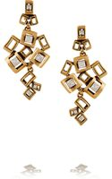 Oscar de la Renta Square Gold-plated Crystal Clip Earrings - Lyst
