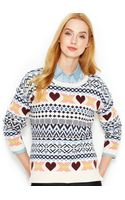Maison Jules Long-sleeve Fair Isle Sweater - Lyst