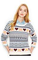 Maison Jules Long-sleeve Fair Isle Sweater - Lyst