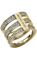 Michael Kors Goldtone Crystal Tiered Ring - Lyst