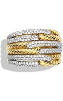 David Yurman Labyrinth Triple-loop Ring with Diamonds in Gold - Lyst