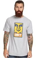 Obey Orange Icon Face Basic Tee - Lyst