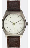Nixon Time Teller Leather Strap Watch - Lyst