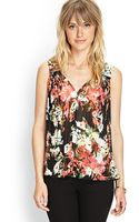 Forever 21 Pleated Floral Tieback Top - Lyst