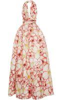 Naeem Khan Pansy Print Halter Gown - Lyst