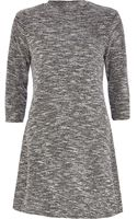 River Island Grey Marl Boucle Turtle Neck Dress - Lyst
