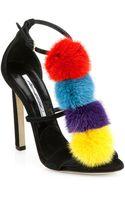 Brian Atwood Genie Suede Mink Fur Sandals - Lyst